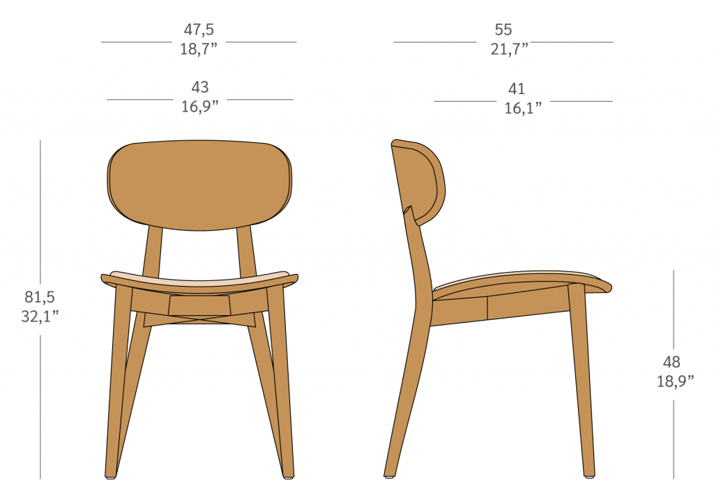 Cadeira sem braços em madeira
