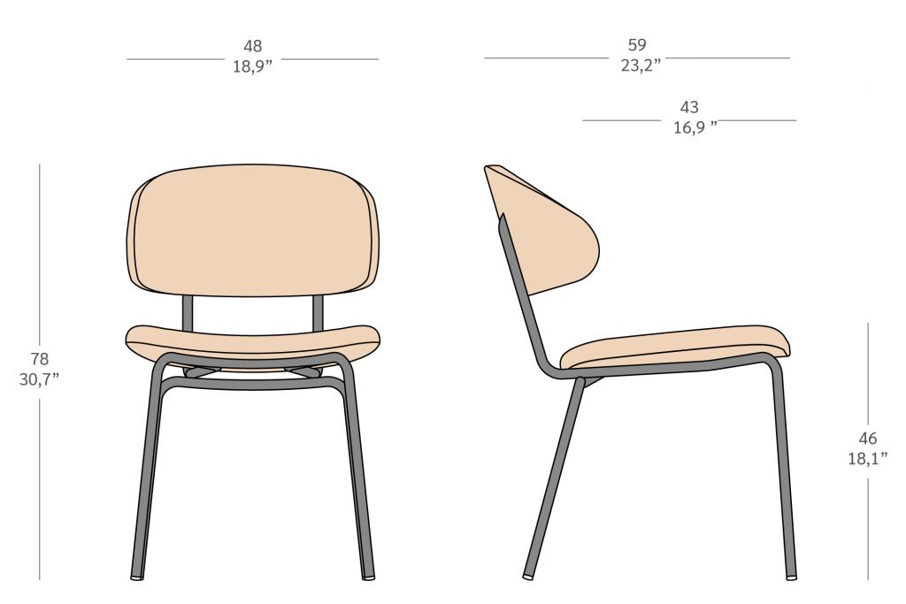 Cadeira estofada em metal